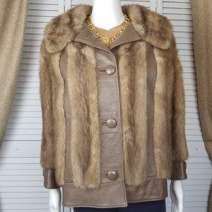 Vintage Mink fur and leather jacket Sz M